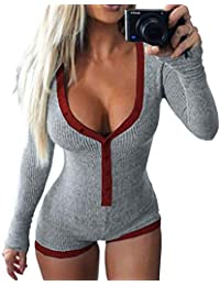 Women's Sexy Deep V Neck Shorts Long Sleeve Knitted One Piece Bodysuit Sexy Pajama Onesie Bodycon Rompers Overall