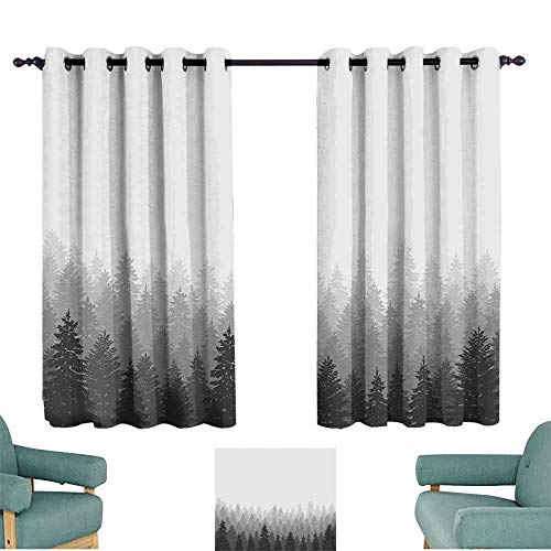 Wood Bleach Panorama Woodland - HCCJLCKS Thermal Insulated Drapes for Kitchen/Bedroom Forest Wilderness Pattern with Many Trees Nature Panorama Monochrome Woods Durable W55 xL39 White Grey Charcoal Grey