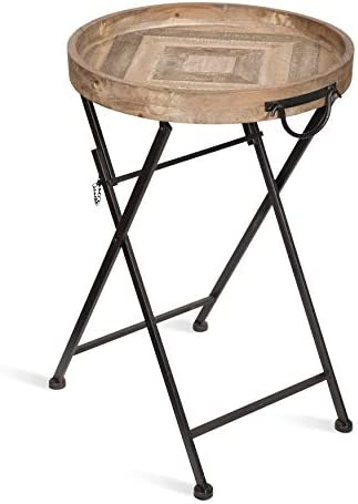 Kate and Laurel Marmora Round Pieced Wood and Metal Pop Up Tray Table