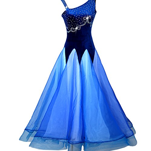 Custom Made Competition Dance Costumes (NAKOKOU Women's Ballroom Dance Competition Dress Modern Dance Sleeveless Performance Dance Dress(Royal Blue,S))