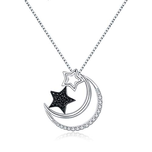 (MORANY Sterling Silver Crescent Moon Star Pendant Necklace Women Jewelry, 18 inch)