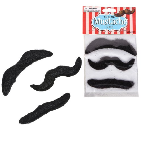 [Self Adhesive Mustaches Set - Pack of 24] (Mustaches And Beards)