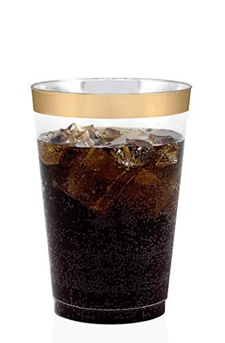 - 50 Gold Rimmed Clear Hard Plastic Cups | 12 oz. Fancy Disposable Tumblers (50-Pack) by Bloomingoods