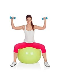 Exercise Ball By Santulana, Anti-burst, Free Pump - Stability Ball for Pilates, Core Strength, Balance, Fitness, Swiss Ball for Physio; Sitting Ball for Healthy Posture. Low Odor. 65cm. Lime-green.