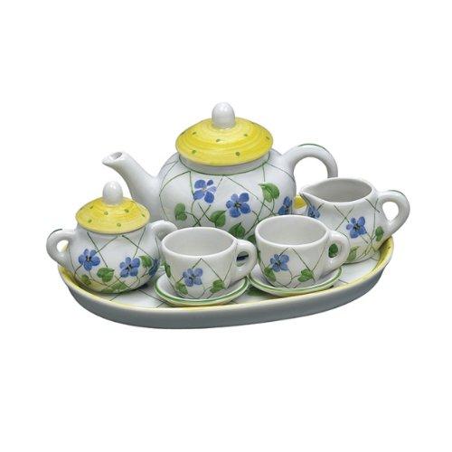 Andrea By Sadek Yellow Polka Dot Doll Size Tea Set
