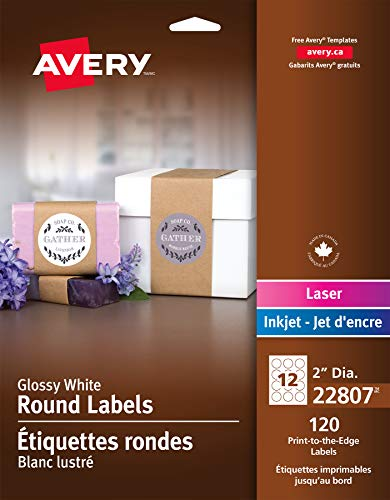 Avery Round Labels, Glossy White, 2-inch size, 120 Labels - Great for Canning Labels and Mason Jars (22807) ()