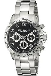 Stuhrling Original Concorso Mens Sports Watch - Analog Quartz Chronograph Watch - Black Dial Date Display Wrist Watch for Men - Mens Designer Watch with Stainless Steel Bracelet 665B.01