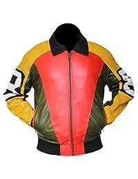 Louis Marco Men's 8 Ball Bomber Yellow & Orange Leather Jacket