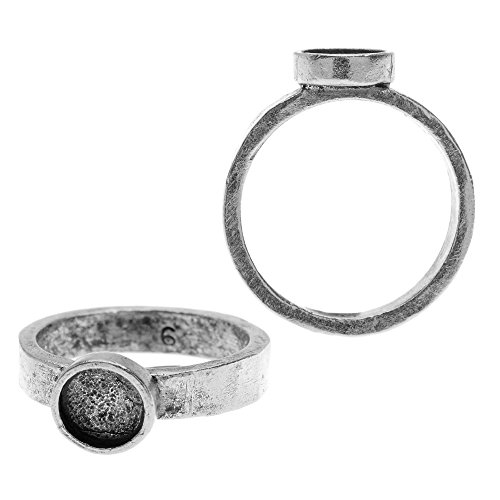 Nunn Design Ring, Hammered with Circle Bezel Size 6, 1 Piece, Antiqued Silver