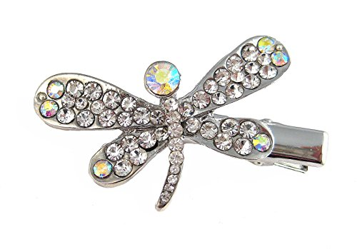 A-Ha - Crystal Dragonfly Hair Clip - Clear