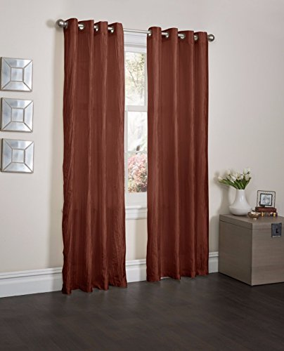 Terracota Orange Crushed Satin Window Curtain Panel With 8 Grommets, Curtains - 52''X84'' by Window Treatment