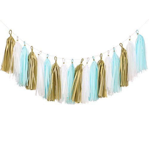 Ling's moment 18 PCS Tissue Paper Tassels, Tassel Garland Banner for Wedding, Baby Shower, Festival Items & Party Decoration, DIY Kits - (Gold + White + (Blue And Gold Baby Shower)