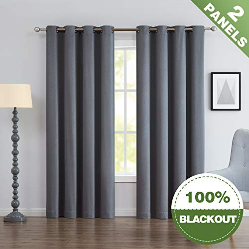 ECODECOR Geometric Grey Blackout Curtains 95
