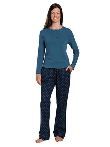 - Women's Cotton Flannel/Thermal Lounge Set - Dots Diva Blue - 2XL