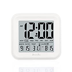 DreamSky Digital Alarm Clock With 3 Set Alarms And Light Activated Nightlight ,All In One Setting And Display - Day,Date ,Temperature , Hustle Free Battery Operated Clocks