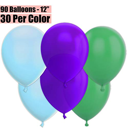 12 Inch Party Balloons, 90 Count - Baby Blue + Deep Purple + Jade Green - 30 Per Color. Helium Quality Bulk Latex Balloons In 3 Assorted Colors - For Birthdays, Holidays, Celebrations, and More!!