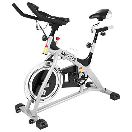 ANCHEER Stationary Bike, Belt Drive Indoor Cycling Exercise Bike 40 LBS Flywheel (Sliver_Pulse) - Duty Exercise Heavy Bikes