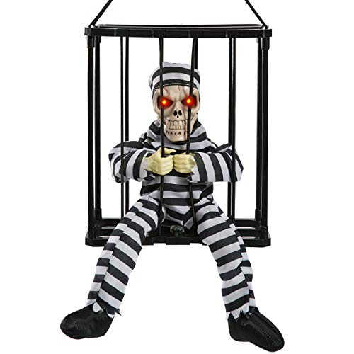 HollyHOME Halloween Decoration Hanging Caged Animated Jail Prisoner Skeleton Terror Decoration Flashing Light up Prop -