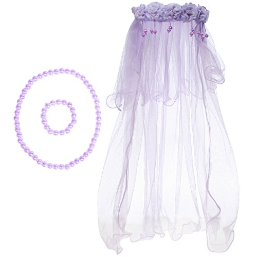 kilofly Wedding Girls Beaded Floral Hair Wreath Veil + Necklace Bracelet Set ()
