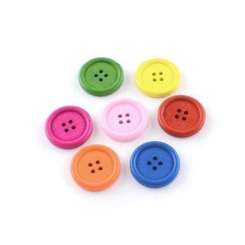- Charming Beads Paquet 20 x Mixte Bois 25mm Boutons Rond HA10820 4 Trou -