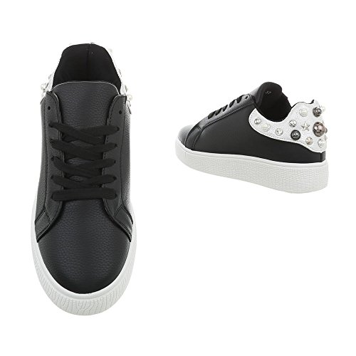 Ital-Design Sneakers Low Damenschuhe Schnürsenkel Freizeitschuhe Schwarz 88035
