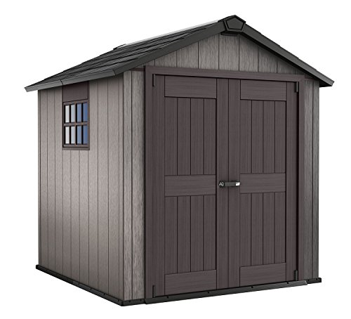 (Keter Oakland 7.5 x 7 Outdoor Duotech Storage Shed, Paintable with Window and Skylight, Brown)