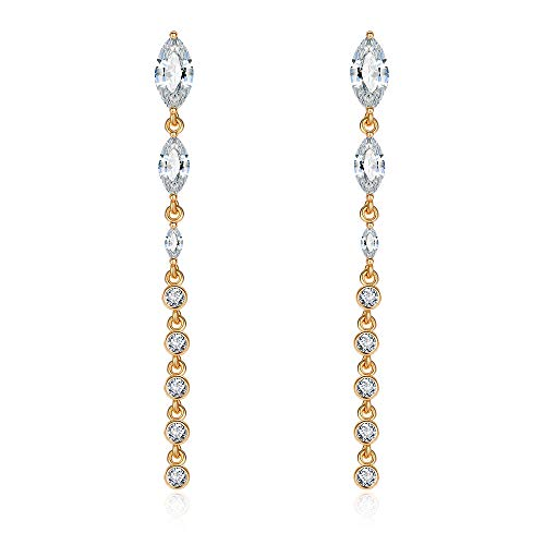 Wedding Bridal Earrings Dangle Drop Crystal Linear Drop Earrings Yellow Gold Long Marquis Bridesmaid Rhinestone Ear Jewels ()