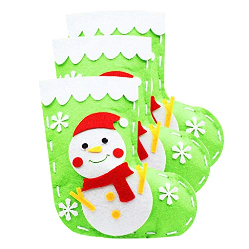 Baosity 3 Set Christmas Snowman Pattern Stocking Non-Woven Felt Applique Kit for Kids DIY Candy Bag