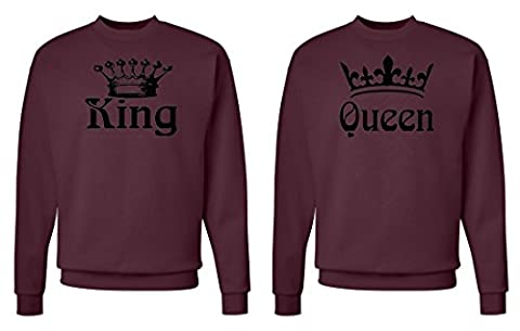 FASCIINO Matching His & Hers Couple Crewneck Sweatshirt Set - King and Queen Crowns (King Shirt: Medium/Queen Shirt: Small (Hers And His Crewneck)
