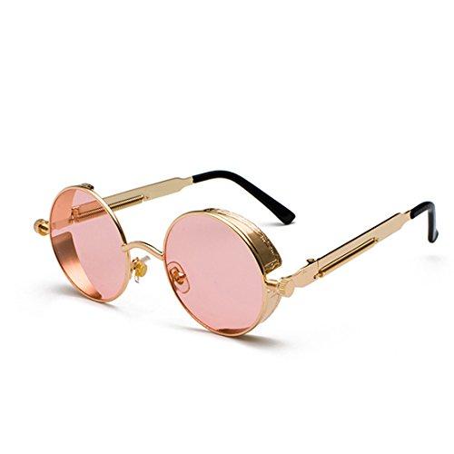 de de círculo Dorado Huicai de de Gafas de moda Lente sol retro color Marco metal de Rosa Marco sol Océano Gafas 8w7qU8z