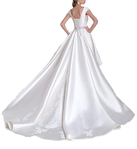 Bridal White Gowns Dreagel Dresses with Detachable Low High Women's Wedding line Satin A Train Zr8qwOxXz8