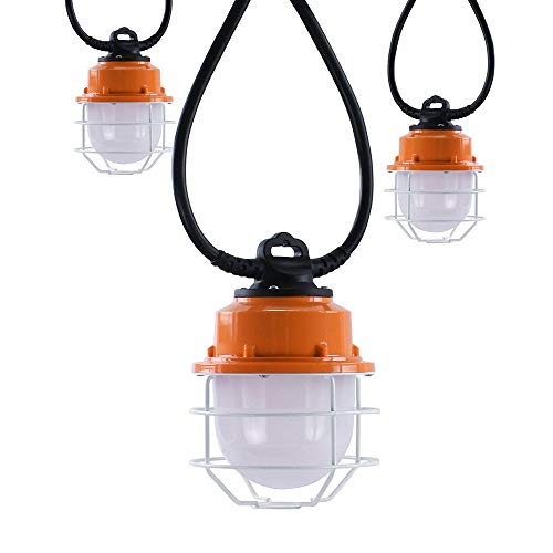 Chezaa 5PCS 100W LED Temporary Construction Hanging Work Light Fixture Daylight 10400Lm,with Cage Guard, Plug in- Ship from USA (A)