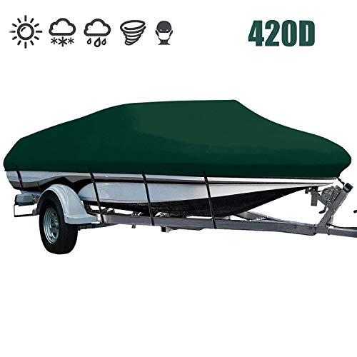LEADALLWAY Heavy Duty 420D Polyester Cover Marine Grade Trailerable Boat