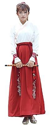 Plaid&Plain Women's Cotton Retro Long Maxi Skirt Vintage A-Line Pleated Skirt
