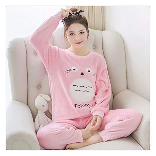 Autumn and Winter Long Sleeve Cartoon Pajama Sets Sleepwear Women Pajama (Water Mink Cashmere) Women Animal Pants Sleepwear XXL Pink Totoro M