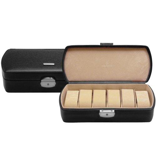 Windrose Classico Uhrenbox 26 cm Leder schwarz