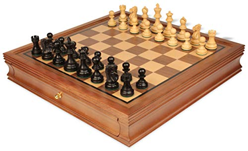 Deluxe Old Club Staunton Chess Set in Ebony Boxwood with Walnut Chess Case - 3.25