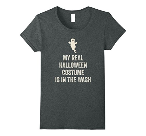 Womens Funny Easy Halloween Costume T-Shirt Real Costume in Wash XL Dark (College Halloween Costumes Guys Funny)