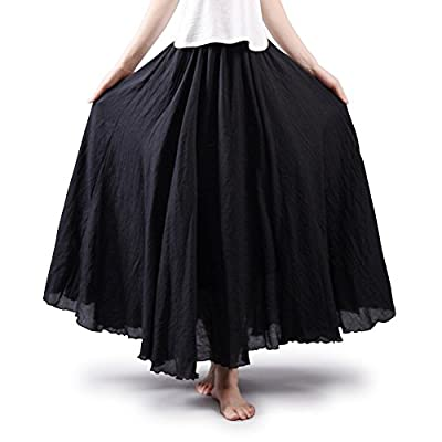 Women's Full Circle Elastic Waist Band Cotton Long Maxi Skirt Dress