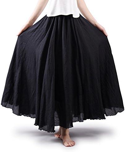 OCHENTA Women's Bohemian Style Elastic Waist Band Cotton Long Maxi Skirt
