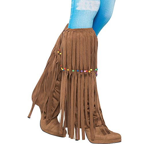 amscan Groovin '60S Costume Party Hippie Beaded Leg Warmers - Adult, Brown, Faux Suede, 1-Pair ()