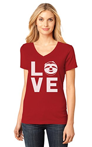 Love Sloths - Lazy Sloth Smiling Face - Animal Lovers Women's Fitted V-Neck T-Shirt Large Red
