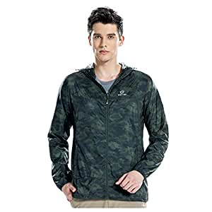BEESCLOVER Tectop Summer Outdoor Clothing Thin Windproof Sunscreen Outerwear(Royal Blue Camouflage S Male) Army Green S