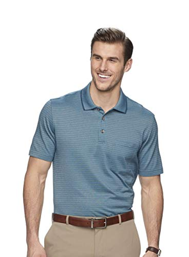 Van Heusen Men's Flex Classic-Fit Jacquard Striped Polo Shirt (Turquoise Indian Teal, X-Large)
