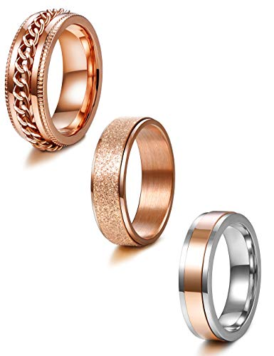 (Jstyle 3Pcs Stainless Steel Fidget Band Rings for Women Mens Cool Spinner Rings 6/8MM Wide Wedding Pormise Band Ring Set Rose Gold)