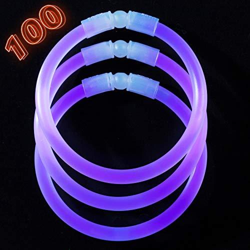 Glow Sticks Bulk Party Supplies - 100 Light Stick Bracelets - Extra Bright Glow In The Dark Party Favors - 8