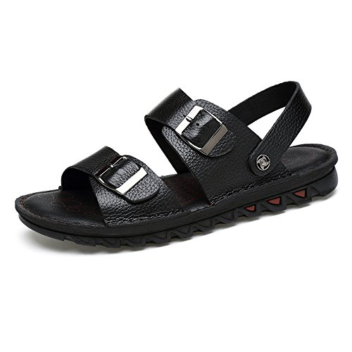 Non Beach Abrasion Toe Open Buckle Black Adjustable Genuine Brown Sunny Backless Slip Sandals Leather 11MUS Slippers Color Resistant Cow amp;Baby Men's Size ZwqBXv