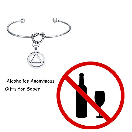 Alcoholics Anonymous AASymbol Charm Pendant Stainless Steel Cuff Bangle Bracelet