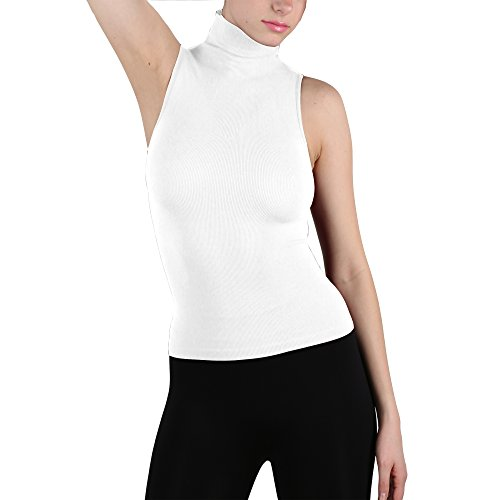 Seamless Ribbed Sleeveless Mock Neck Turtleneck Shaping Tank Top Hot Tee - Neck Funnel Tee