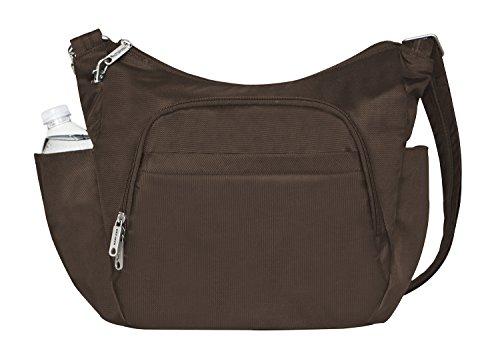 Travelon Anti-Theft Cross-Body Bucket Bag, Chocolate, One Size